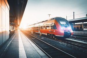 Train at railway station in Europe