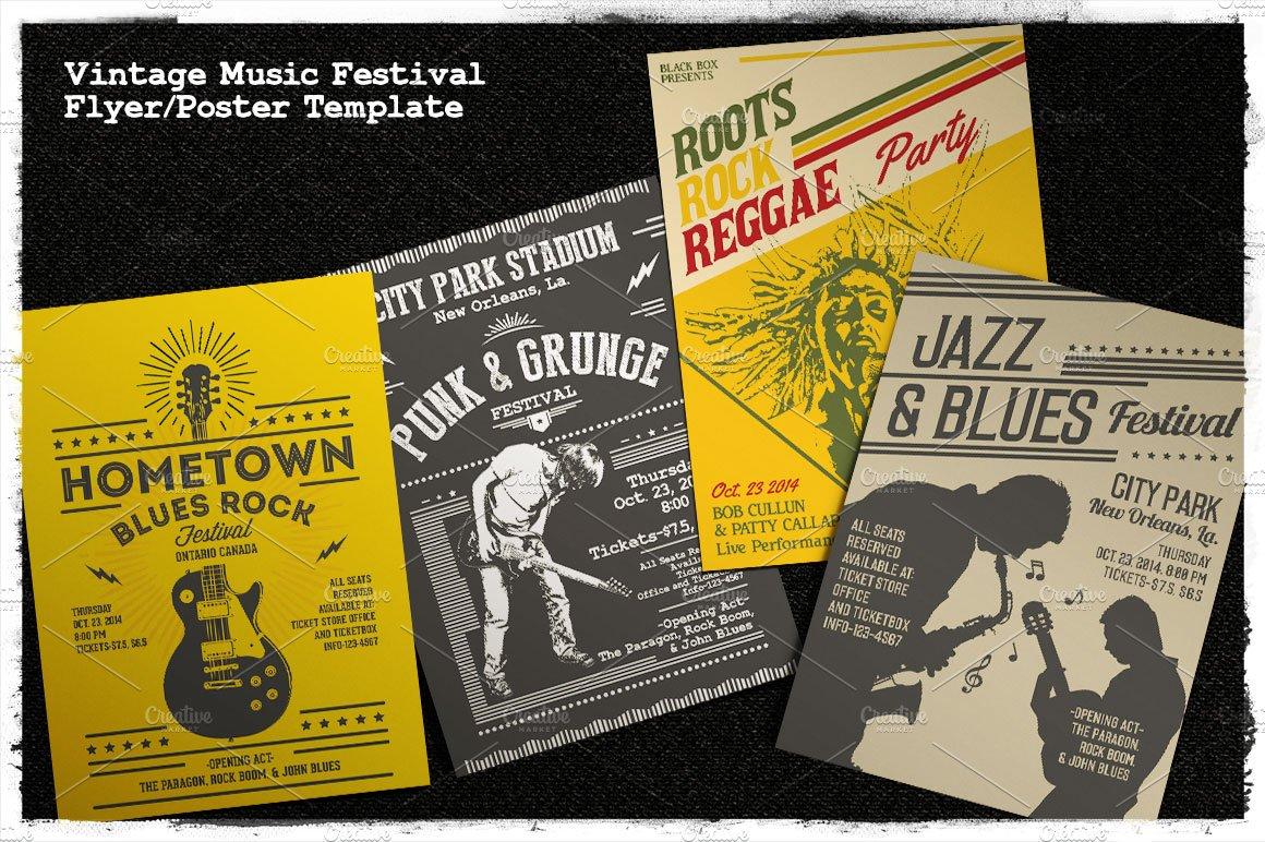 Vintage Music Festival Flyer Poster Flyer Templates