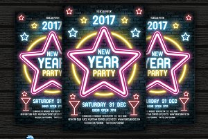 Neon New Year Party Flyer