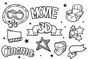 Set of 3d movie design elements.