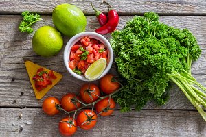 Salsa sauce and ingredients