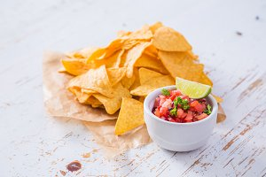 Nachos and salsa sauce ingredients