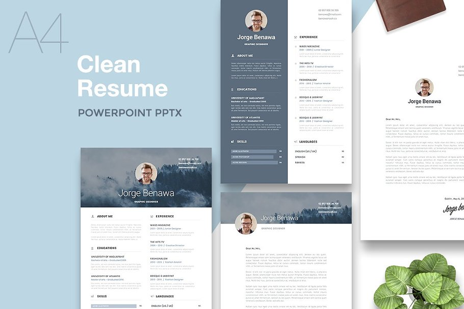 Resume 2.0 - A4 PowerPoint Format ~ Resume Templates ~ Creative Market