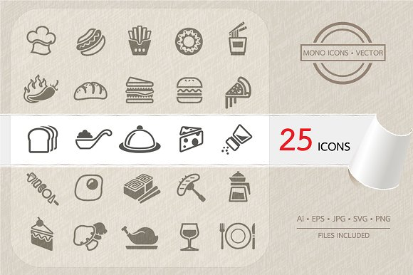 Food icons set. Vector - Icons