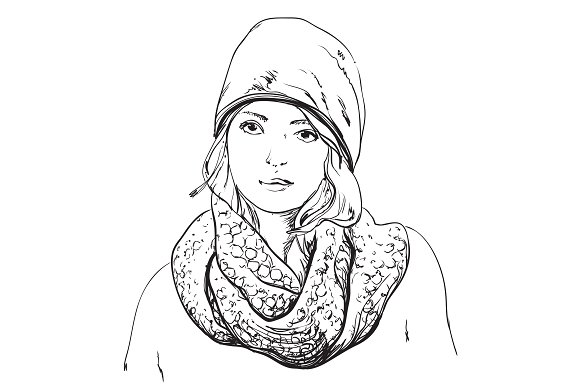 Winter girl. Hat and scarf sketch. - Illustrations