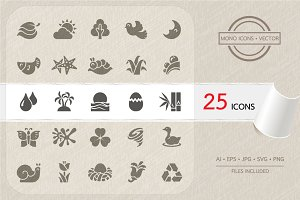 Nature icons set. Vector