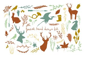 Forest hand drawn kit