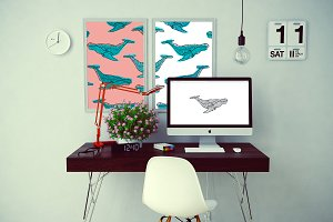 Set graphic whales, EPS+JPEG