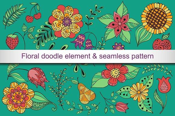 Vector floral doodle element set.