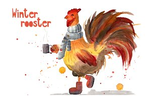 Watercolor winter rooster and blobs