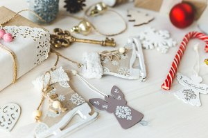 Cozy vintage toned winter holidays Christmas Composition