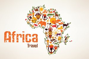 Africa Continent Stylized Map