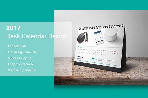 2017 Desk Calendar Design Stationery Templates Creative Market