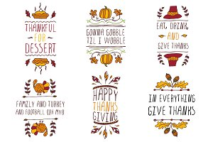 Handdrawn Thanksgiving elements
