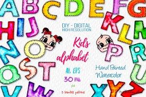 Watercolor Kids Alphabet, Cute Faces