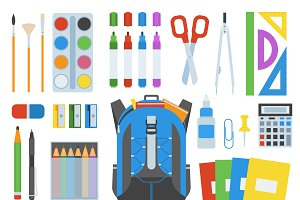 School bag supplies vector