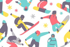 Snowboard seamless pattern vector