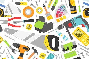 Construction tools vector pattern