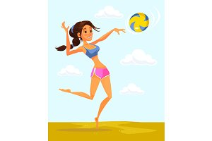 Volleyball player woman character