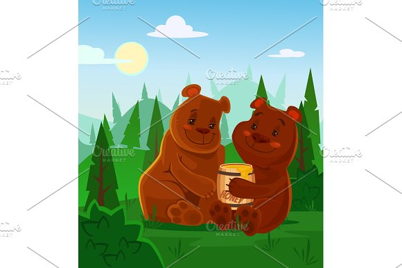 Bears Characters Eating Honey