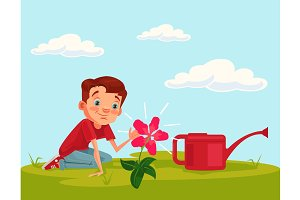 Little boy character grow flower