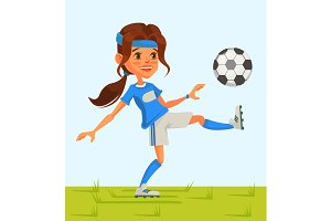 Little girl soccer play football