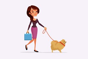 Girl walking with dog