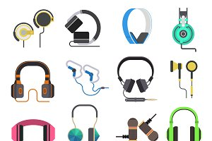 Headphones vector set