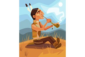 Indian shaman smoking pipe of peace