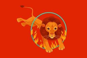 Circus lion character jumping