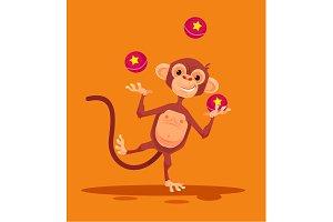 Monkey character juggling balls