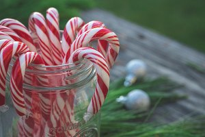 Candy Canes in Mason Jar
