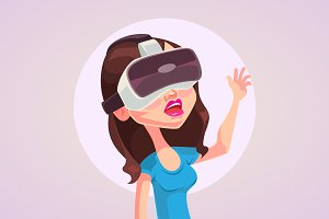 Woman with glasses virtual reality