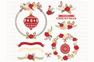 Floral Christmas Design Elements