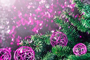 Purple Christmas bauble pine sparkling background