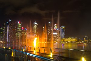 Cityscape Singaroure Marina Bay at night lights
