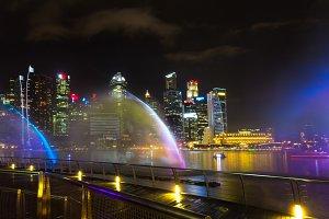Cityscape Singaroure Marina Bay at night lights
