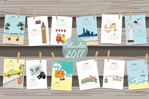 Calendar 2017 in travel and vacation