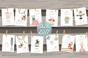 Calendar 2017 with cute animals