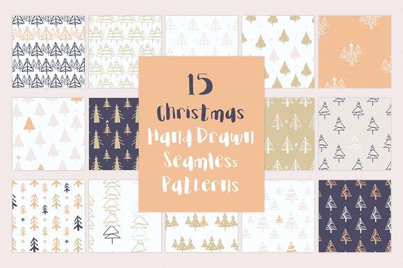 15 Christmas Hand Drawn Patterns