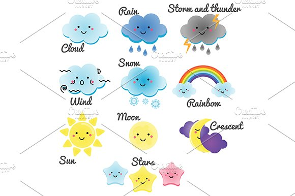 Cute kawaii weather and sky. eps jpg - Illustrations