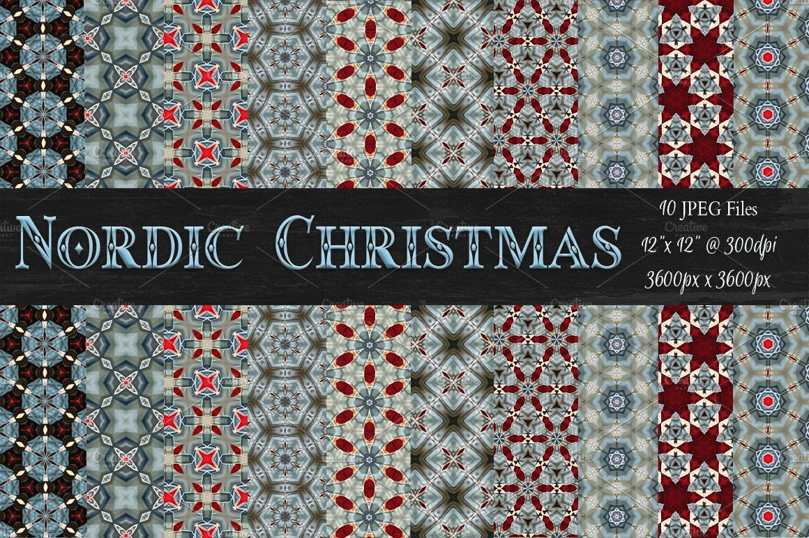 nordic christmas background patterns graphic patterns creative market - Nordic Christmas