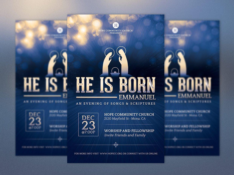 emmanuel christmas flyer poster flyer templates on creative market
