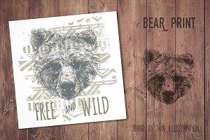 Bear face print