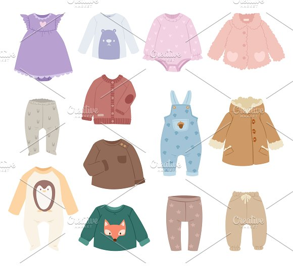 Baby Accessories Clothes Vector