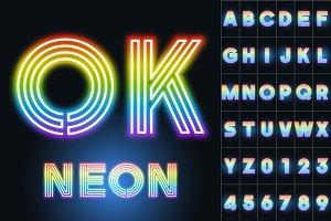 Alphabet of neon tubes