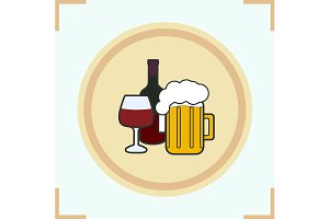 Alcohol drinks icon. Vector