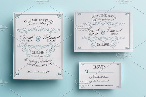 Vintage Wedding Invitation Pack Invitations
