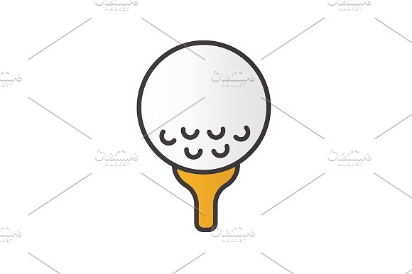 Golf ball on tee icon. Vector - Icons