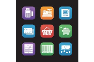 Supermarket. 9 icons. Vector